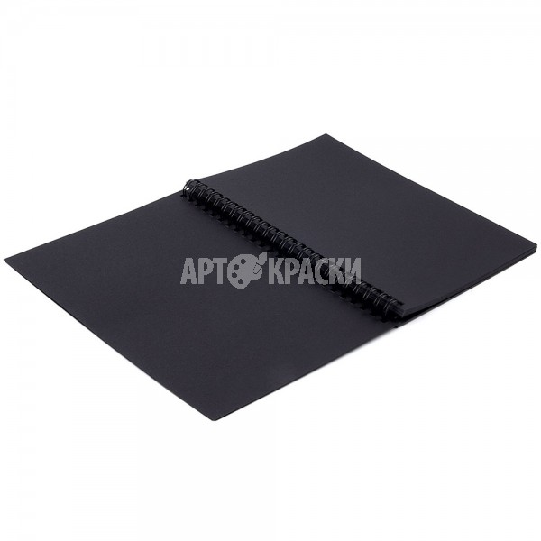 """Альбом-скетчбук, черная бумага, А5, 148х210 мм, 120 г/м2, 32 л., гребень, BRAUBERG ART """"CLASSIC"""", 128952"""