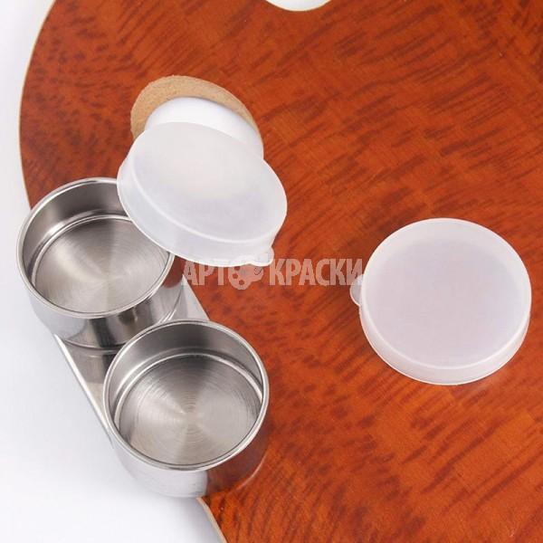 Масленка металлическая двойная с пластиковой крышкой для живописи Ø 4 см