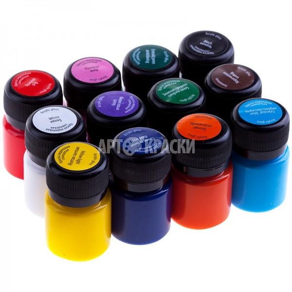 Набор акриловых глянцевых красок DECOLA 12 цветов 20мл