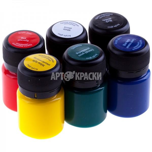 Набор акриловых глянцевых красок DECOLA 6 цветов 20мл