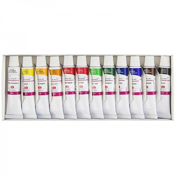 Набор акриловых красок СОНЕТ 12 цветов 10мл