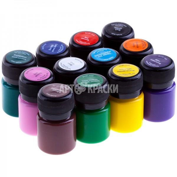Набор акриловых матовых красок DECOLA 12 цветов 20мл