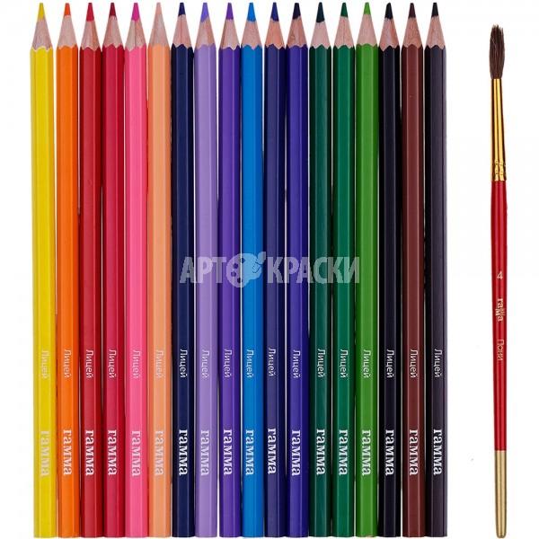 """Набор акварельных карандашей Гамма """"Лицей"""" 18 цветов с кистью"""