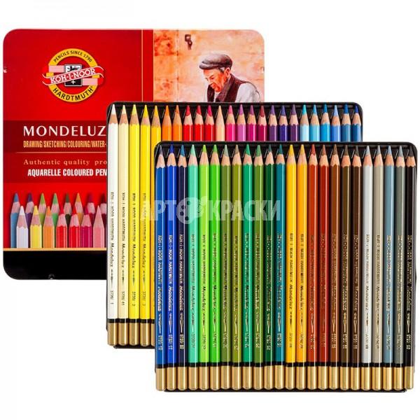 """Набор акварельных карандашей Koh-I-Noor """"MONDELUZ"""" 48 цветов в металическом пенале"""