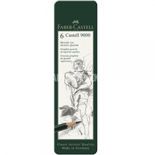 "Набор чернографитных карандашей Faber-Castell ""Castell 9000"" 6 шт"