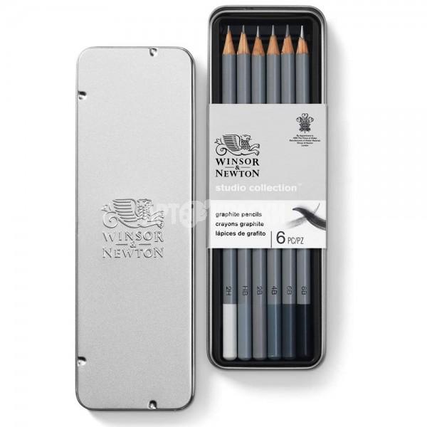 """Набор чернографитных карандашей Winsor & Newton """"Studio Collection"""" 6 шт в пенале"""
