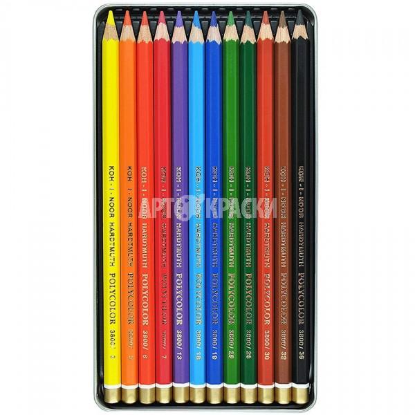 """Набор цветных карандашей Koh-i-Noor """"Polycolor"""" 12 цветов в пенале"""