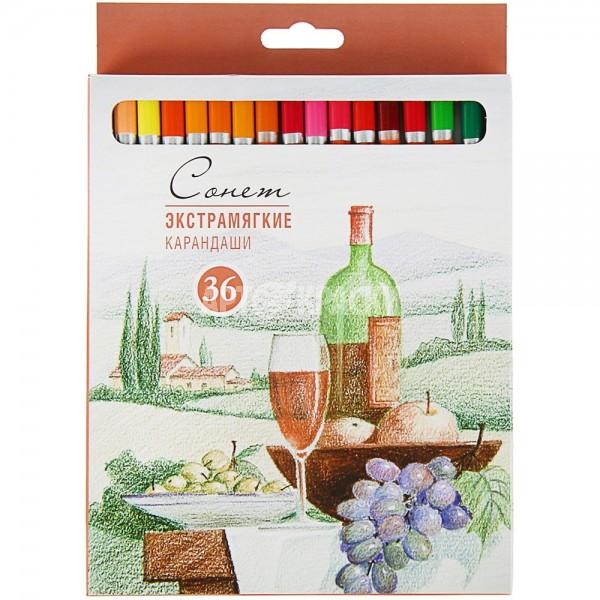 """Набор экстрамягких цветных карандашей """"Сонет"""" 36 цветов"""