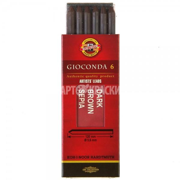 """Набор стержней Ø 5,6 мм Koh-I-Noor """"Gioconda"""" 4377 Сепия темно-коричневая 6шт"""