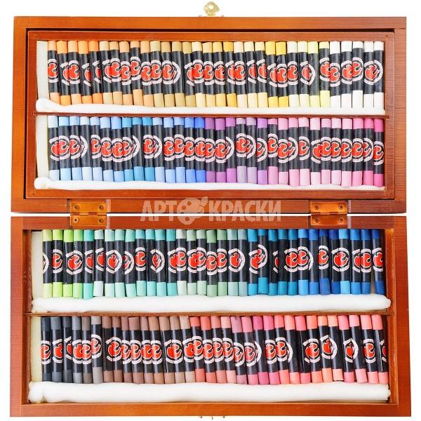 Набор сухой пастели «Подольск Арт-Центр» 130 цветов в деревянном пенале