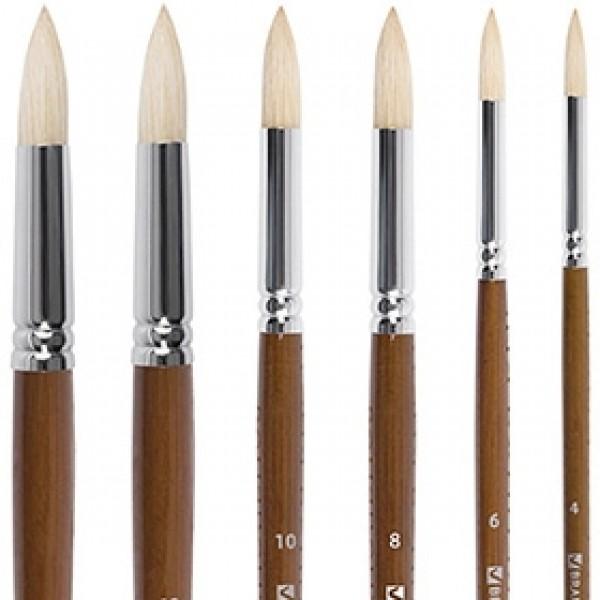 """Кисти щетина круглая """"BRAUBERG ART CLASSIC"""" длинная ручка по номерам"""