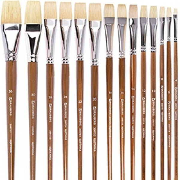 """Кисти щетина плоская """"BRAUBERG ART CLASSIC"""" длинная ручка по номерам"""