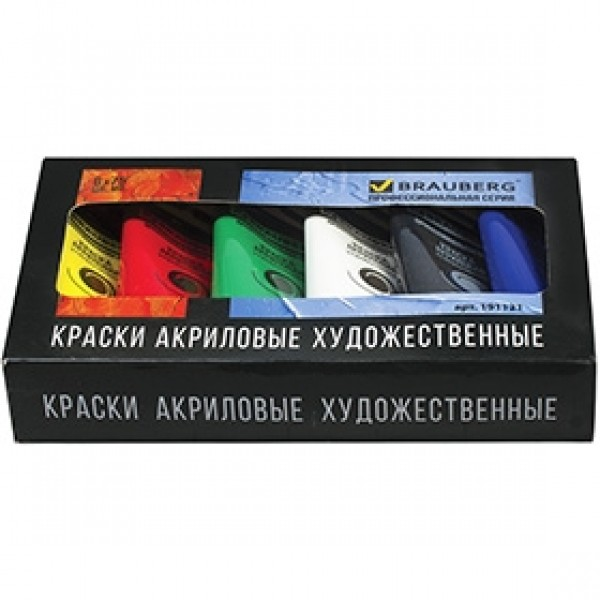 Набор акриловых красок BRAUBERG 6 цветов 75мл