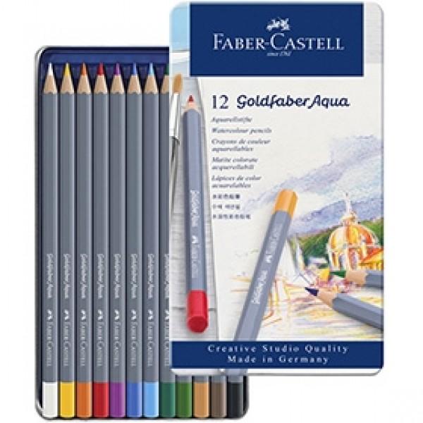"""Набор акварельных карандашей Faber-Castell """"Goldfaber Aqua"""" 12 цветов в пенале"""