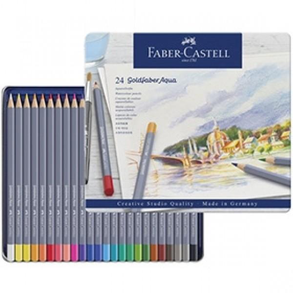 """Набор акварельных карандашей Faber-Castell """"Goldfaber Aqua"""" 24 цвета в пенале"""
