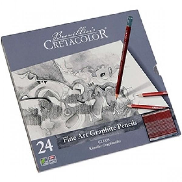"""Набор чернографитных карандашей для рисунка Cretacolor """"CLEOS"""" 24 шт"""