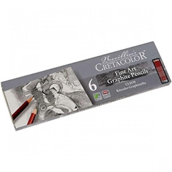 """Набор чернографитных карандашей для рисунка Cretacolor """"CLEOS"""" 6 шт"""