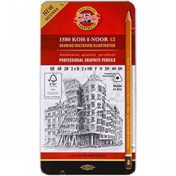"""Набор трехгранных чернографитных карандашей Koh-I-Noor """"FSC"""" 1582 12 шт"""