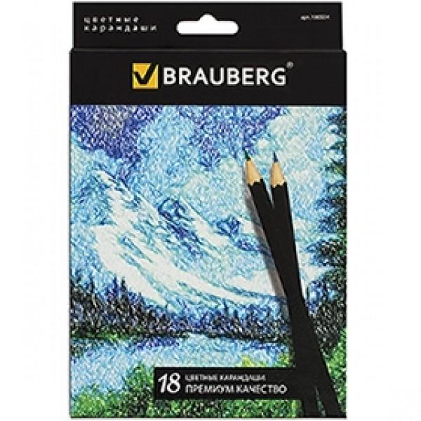 """Набор цветных карандашей BRAUBERG """"Artist Line"""" 18 цветов"""