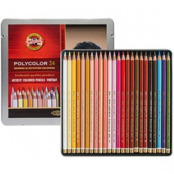 """Набор цветных карандашей Koh-i-Noor """"Polycolor"""" Портрет 24 цвета в пенале"""