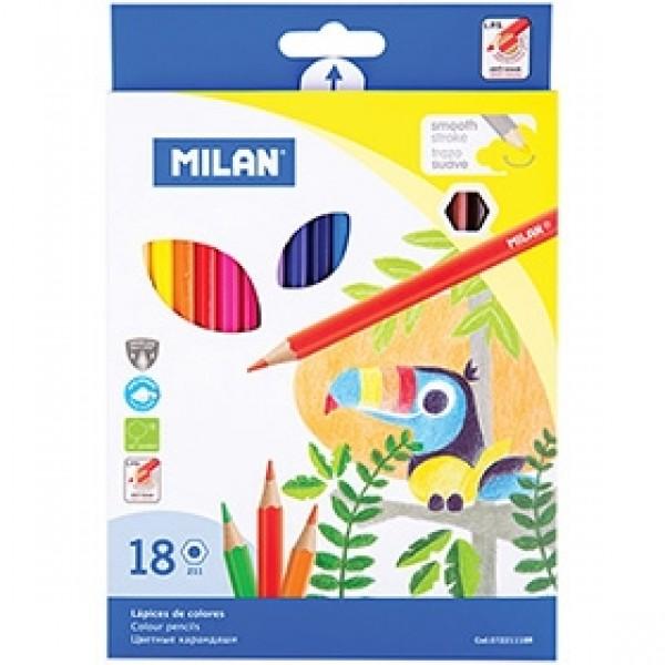 """Набор цветных карандашей Milan """"211"""" 18 цветов"""