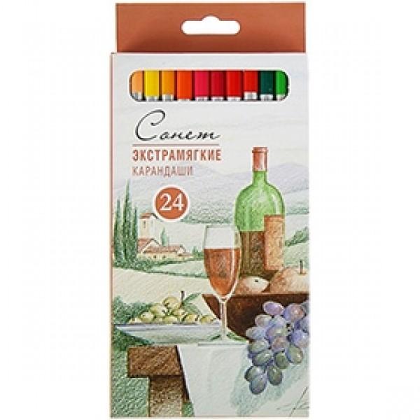 "Набор экстрамягких цветных карандашей ""Сонет"" 24 цвета"