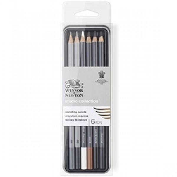 """Набор эскизных карандашей Winsor & Newton """"Studio Collection"""" 6 шт в пенале"""