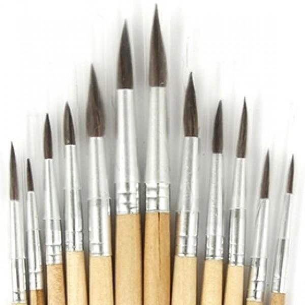 Набор кистей белка круглая 12шт, короткая ручка