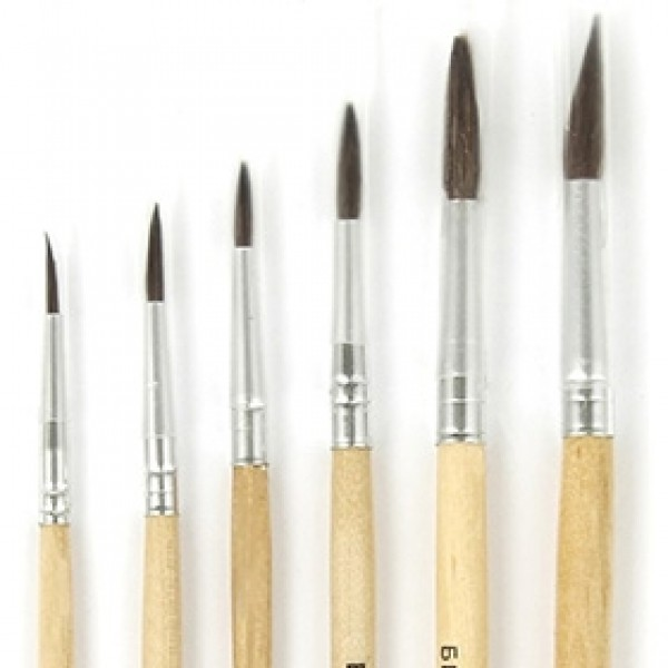 Набор кистей белка круглая 6шт, короткая ручка