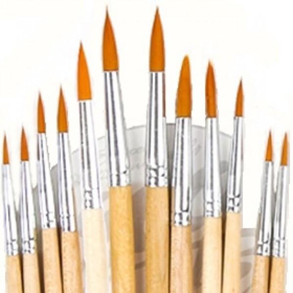 Набор кистей синтетика круглая 12шт, короткая ручка