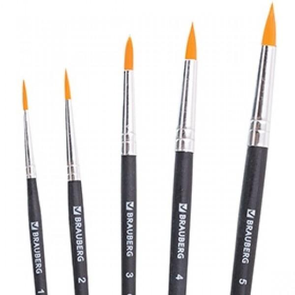Набор кистей синтетика круглая BRAUBERG 5шт короткая ручка