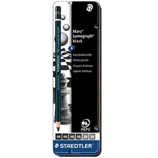 """Набор матовых чернографитных карандашей STAEDTLER """"Mars Lumograph Black"""" 2B-8B 6 шт"""