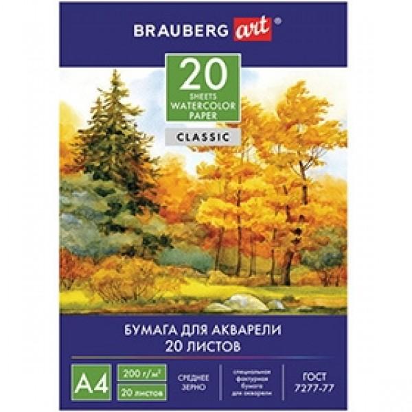 """Папка для акварели BRAUBERG """"Осенний лес"""" А4 20 листов"""