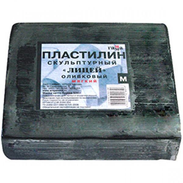 """Пластилин скульптурный мягкий """"Лицей"""" оливковый, 500гр"""