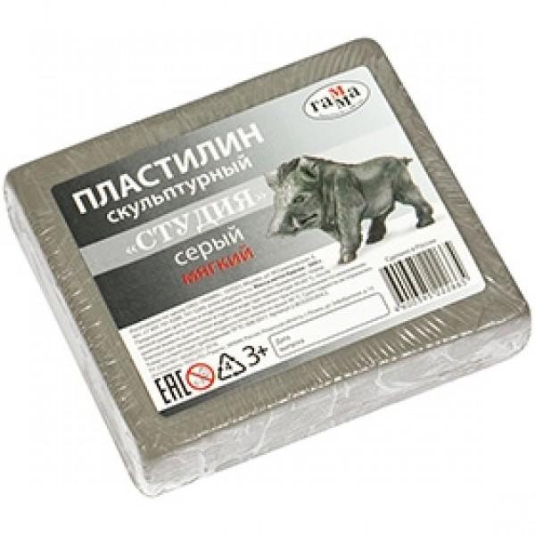 """Пластилин скульптурный мягкий """"Студия"""" серый 500гр"""