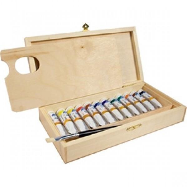 Подарочный набор масляных красок ЛАДОГА в деревянном пенале 12 цветов, 18мл
