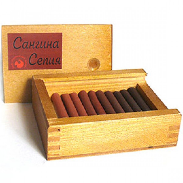 Сангина и Сепия ассорти 10 шт в деревянном пенале