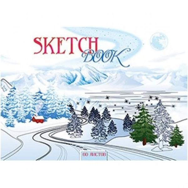 """Скетчбук для эскизов """"Зимний пейзаж"""" А5 60 листов белой бумаги на пружине"""
