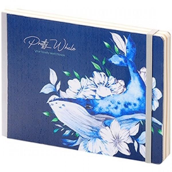 "Скетчбук для рисования Greenwich Line ""Pretty Whale"" А5 14х21см 80 листов"