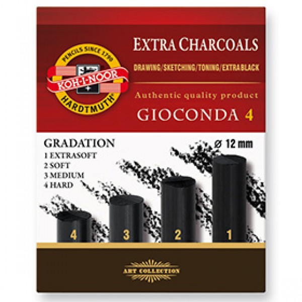 """Уголь прессованный для рисования Koh-I-Noor """"Gioconda"""" Extra Charcoal 4шт"""